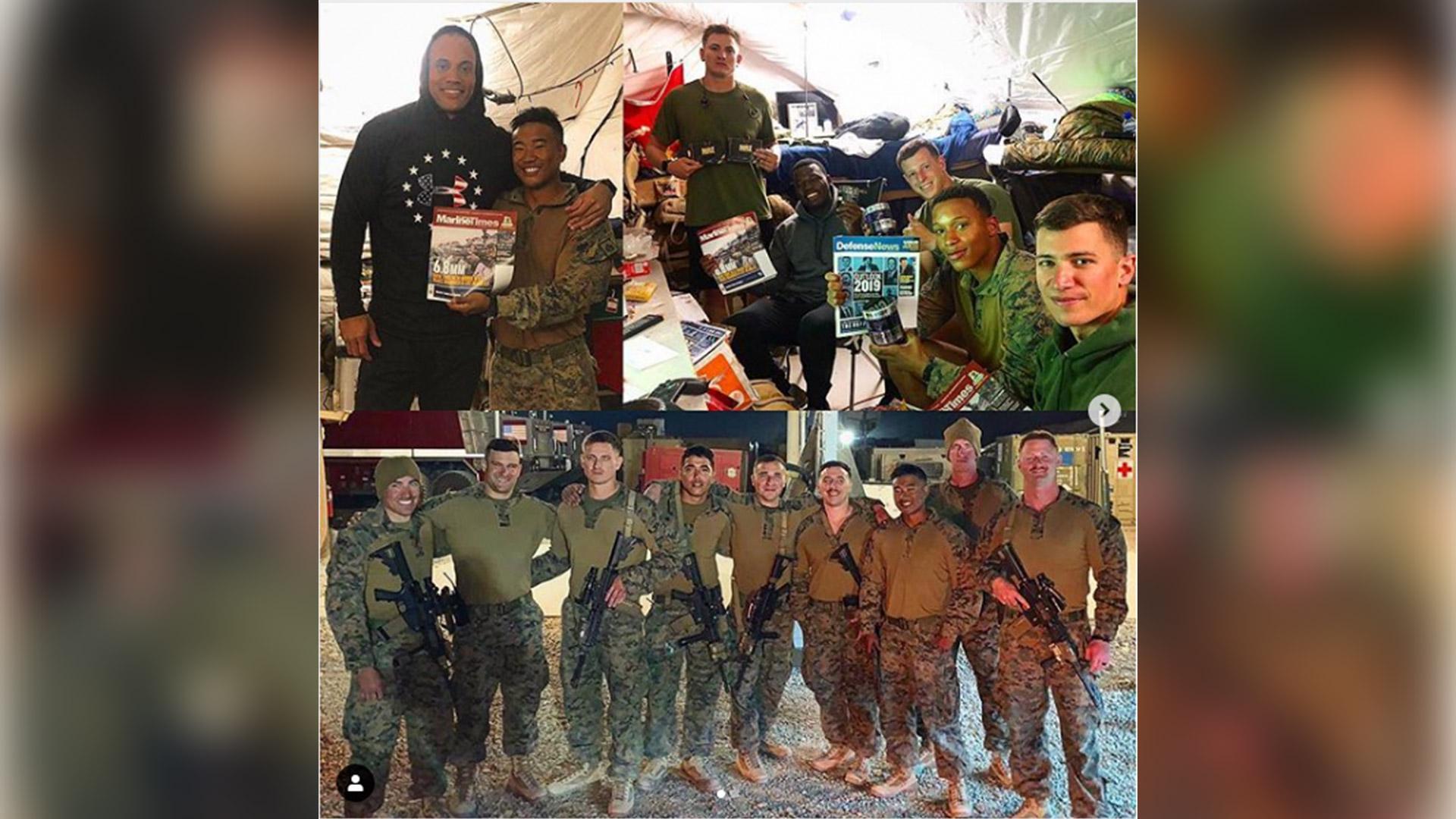 Soldados da Marinha de combate recebem os suplementos Military Trail