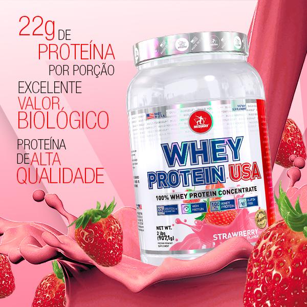 Whey Protein USA 907g  Morango