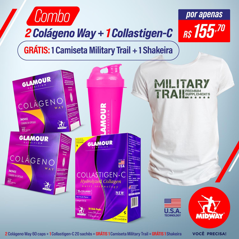 Combo 2 Colágeno Way + 1 Collastigen-C + GRÁTIS 1 Camiseta Military Trail + GRÁTIS 1 Coqueteleira Combo  Sem sabor