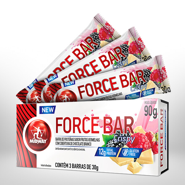 Force Bar Crispy Display com 3 UND  Frutas Vermelhas