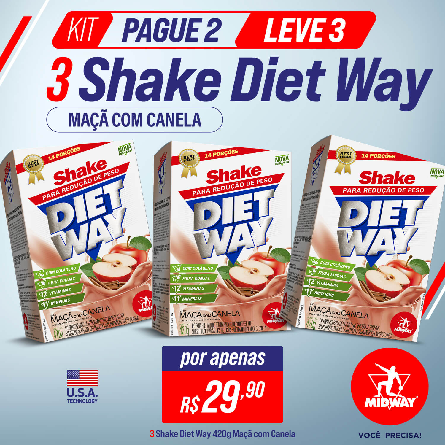 KIT Pague 2 Leve 3 Shake Diet Way 420 g Maçã com Canela