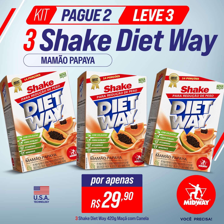 KIT Pague 2 Leve 3 Shake Diet Way 420 g Mamão Papaya