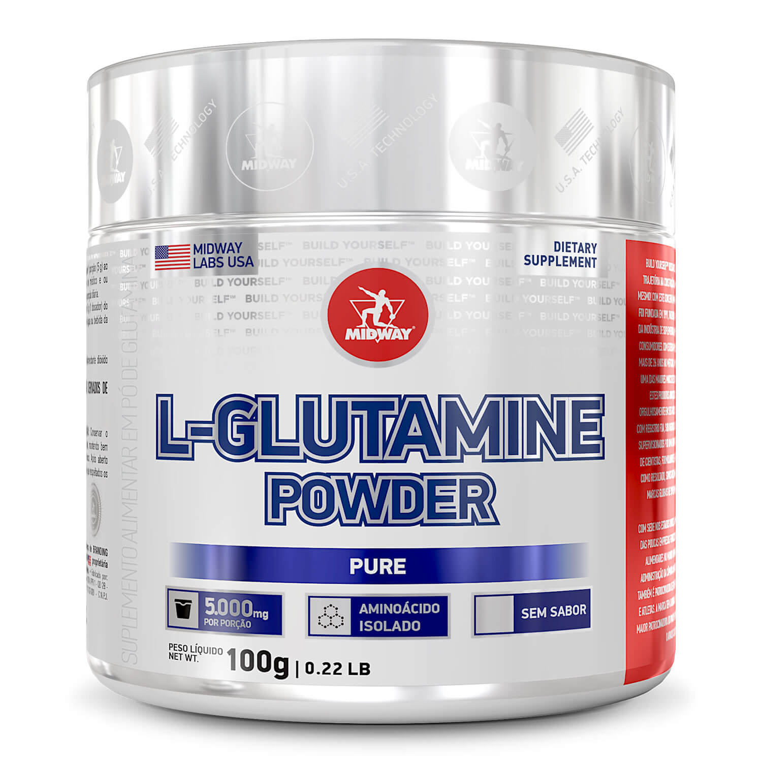 L-Glutamine Powder Pure 100 g  Sem sabor