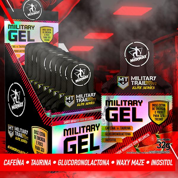 Military Gel Display com 10 UND de 32g  Morango com Melancia