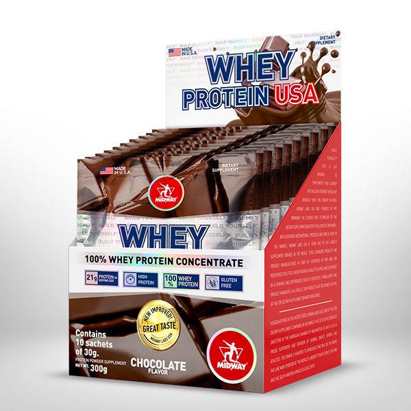 Whey Protein USA Display 10 x 30g  Chocolate