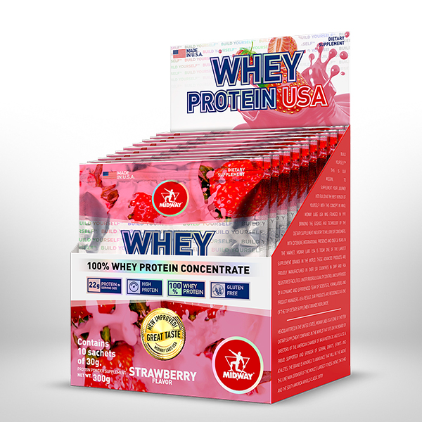 Whey Protein USA Display 10 x 30g  Morango