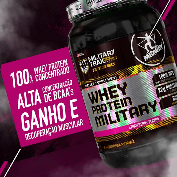 Whey Protein Military 900g  Morango